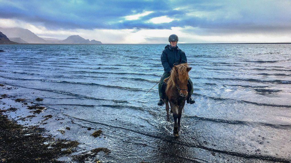 Black sand beach horseback riding tour in Iceland